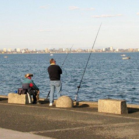Wędkarze w Williamstown, Melbourne, Australia