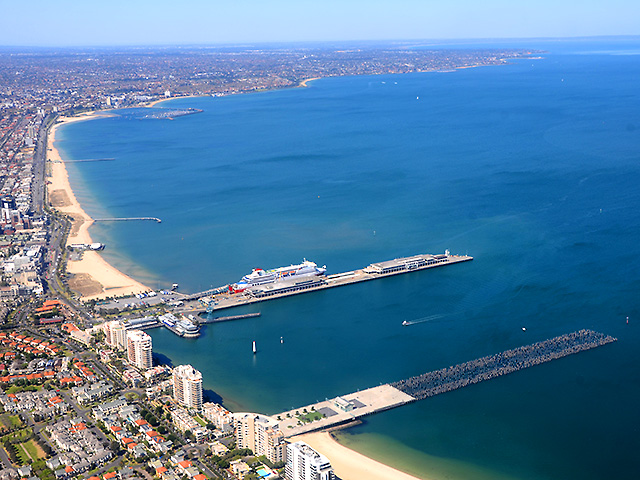 Melbourne z lotu ptaka: Port Melbourne