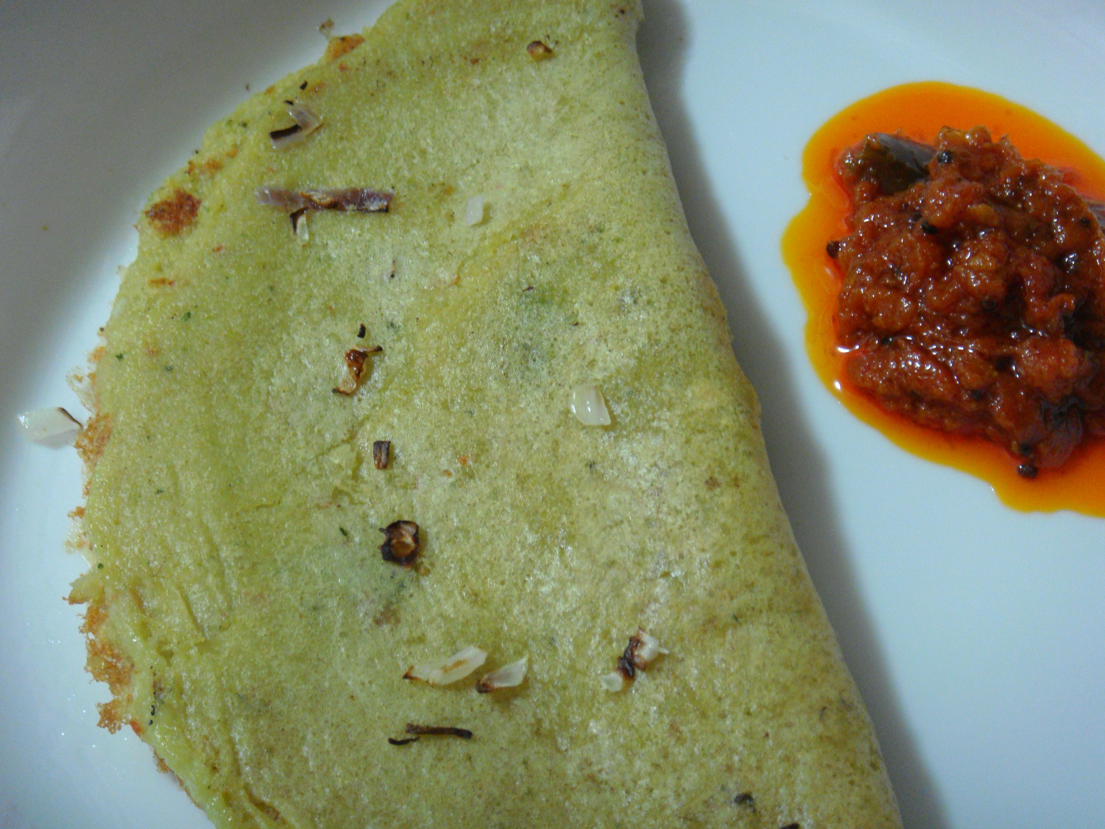 Onion,Oats and flax Adai with Tomato Thokku.