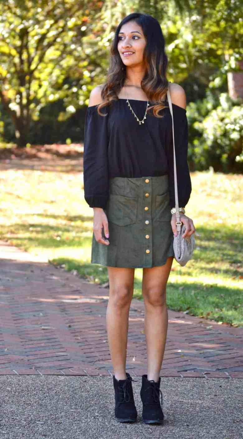 87430d697 Forest Green Suede Skirt :: Retro Style - An Unblurred Lady