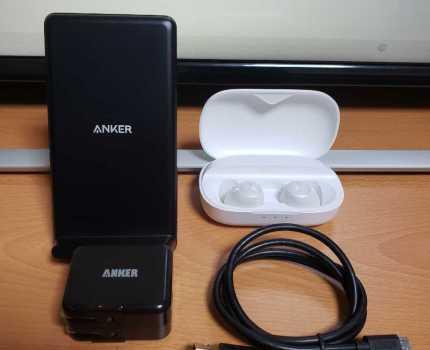 anker ワイヤレス 充電器/ワイヤレスイヤホン/usb充電器/純正usbケーブル 合計4品/powerwave zolo liberty 5V 2A Bluetooth