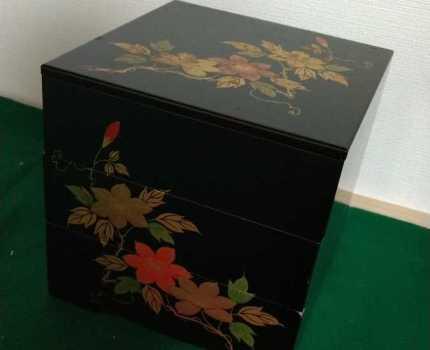 しー13 未使用【会津漆器 天然木 三段重箱 おせち料理 】