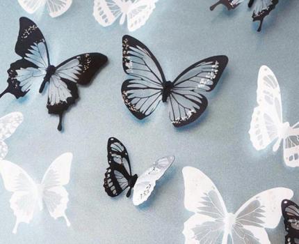 j050 18 ピース/ロット 3d 効果クリスタル蝶ウォール 子供のための部屋の壁のステッカー 家の装飾壁に