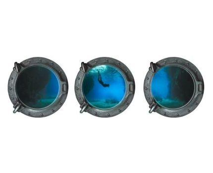 ウォールステッカー 丸窓から眺める風景 3D風 3枚セット (海中ダイバー)