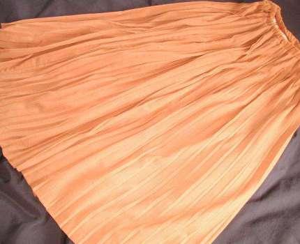 329 超ロングプリーツスカート 丈94 オレンジ