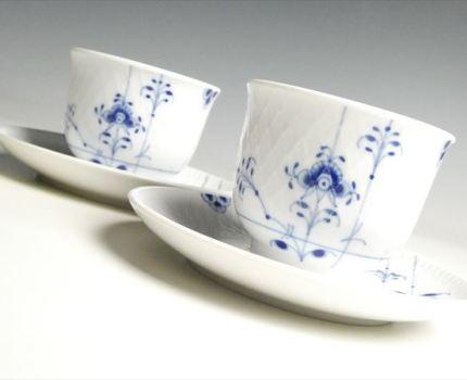 HK921 ロイヤルコペンハーゲン ブルーパルメッテ ペア オリエンタル カップ&ソーサー 碗皿 湯呑 2客