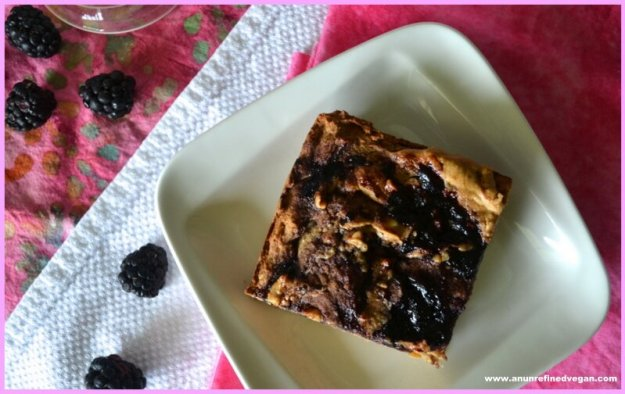Vegan Peanut Butter and Jelly Blondies from An Unrefined Vegan