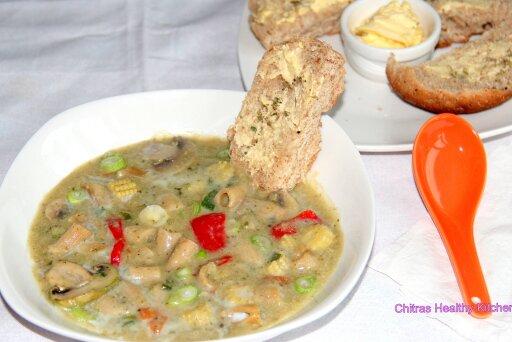 Coconut Veggie Pasta Soup