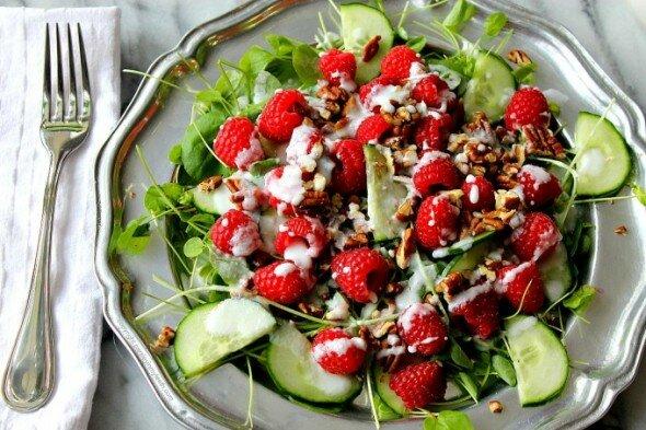 Watercress Raspberry Salad Parsley in My Teeth