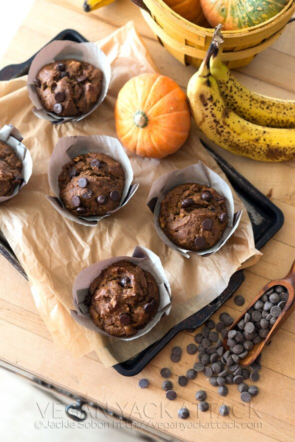 Pumpkin Banana Nut Muffins