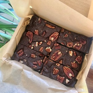 candied pecan brownie in a box
