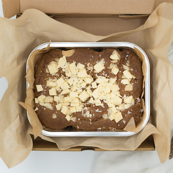 salted peanut butter brownie with white chocolate in a box