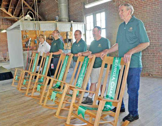 georgia chair company folding leg protectors marks 100th year with saudi arabian deal gainesville co recognized its longest serving employees friday a rocker from left are andrea crozier greg kinsey donny irvin brad crain and hugh