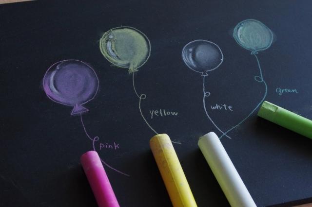 黒板にチョークで書いた彩どりの風船