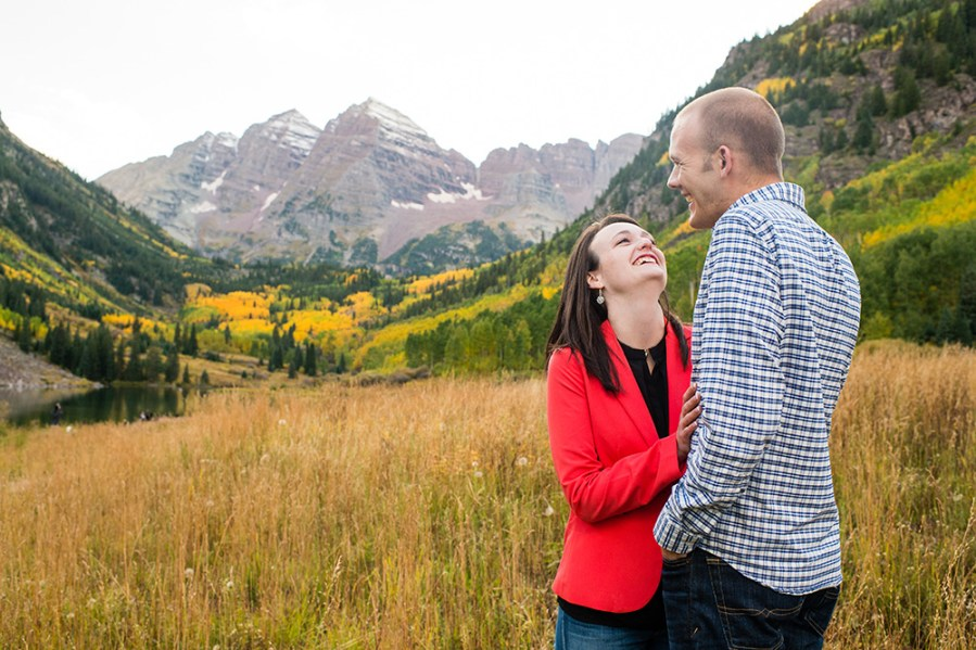 Maroon Bells engagement photos for Sept. 19, 2015, in Aspen, Colorado.