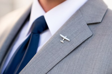 An airplane pin during Manor House Wedding on June 26, 2016, in Littleton, Colorado.