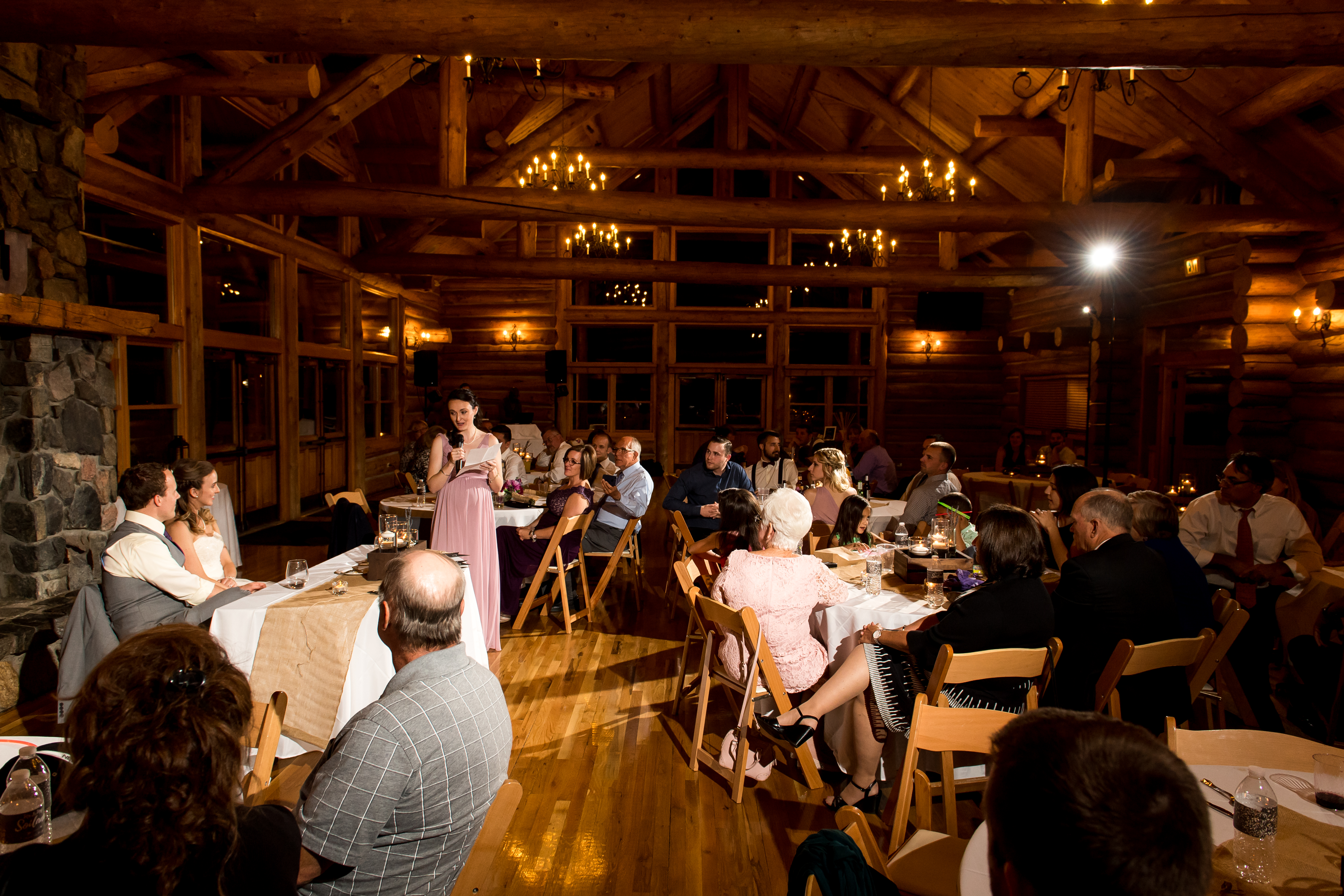 Evergreen Lake House wedding pictures of toasts by sister-in-law of the bride