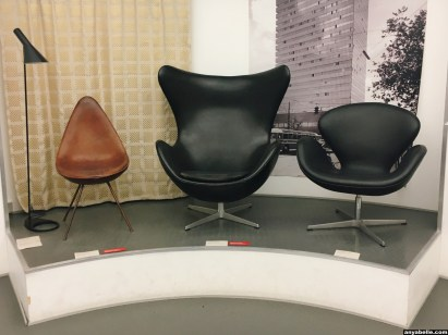"""Arne Jacobsen chairs displayed in the exhibition """"Danish Design Now"""""""