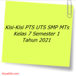 Kisi-Kisi PTS UTS SMP MTs Kelas 7 Semester 1 Tahun 2021