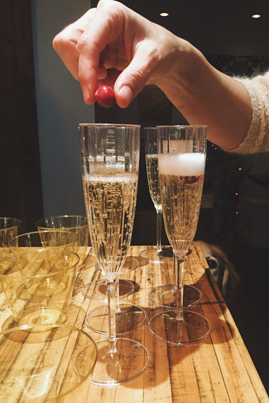 Preparing champagne flutes for New Years Eve.