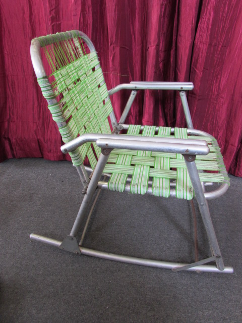 Lot Detail  VINTAGE ALUMINUM FOLDING LAWN CHAIR  ROCKING
