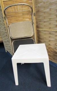 Lot Detail - VINTAGE 2 STEP METAL STOOL CHAIR AND PLASTIC ...