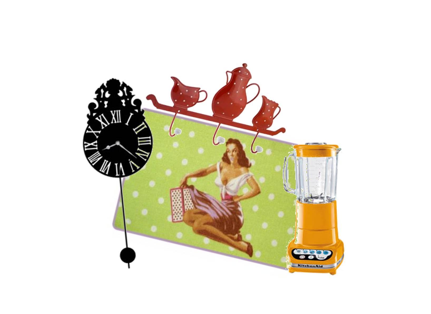 accroche torchon + horloge + tapis de cuisine : G.Lethu ; blender : KitchenAid
