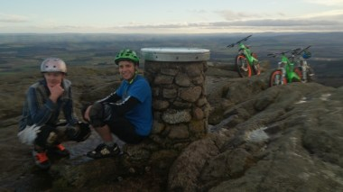 Went for the first proper bike ride of 2014 with Beasly and Twig! Up Milstone twice and up Mither Tap twice on a DH bike. Sheltering from the wind at the top!