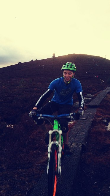 Riding the railway sleepers over the bogs on Millstone
