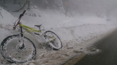 My bike acquired a bit of snow on the way down!