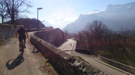 The old bridge at Claix over Le Drac, Vercors in the distance and the lower peak is where we were headed