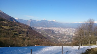 Looking back to Grenoble and Chartreuse in the background