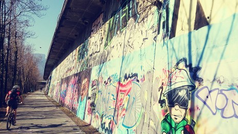 Huuuge graffiti wall by the river
