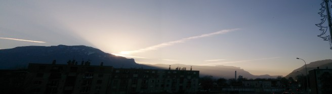 Because of the mountain that is La Moucherotte, the sunset is like this every night over Grenoble