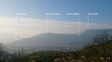 Looking back to the otherside of Grenoble and the hills where we often ride