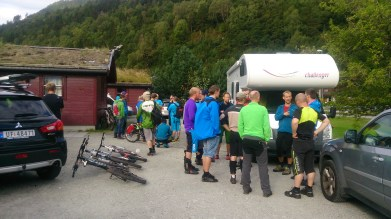 The morning's get together before heading off into the hills on our separate tours