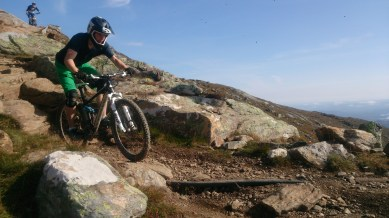 Jan and Nico riding some of the more technical sections of the upper red track