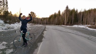 bianchi via nirone road bike norway trondheim road cycling in the snow