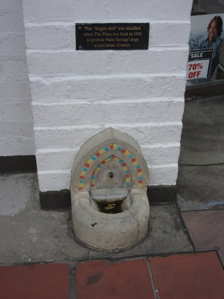 1930s water bowl for dogs in Palm Springs