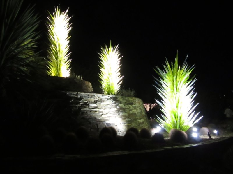 Chihuly glass cactus at Electric desert Desert Botanical Gardens Phoenix AZ