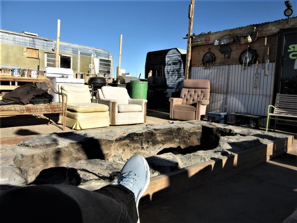 Coveting the fire pit at the California Ponderosa, Slab City CA