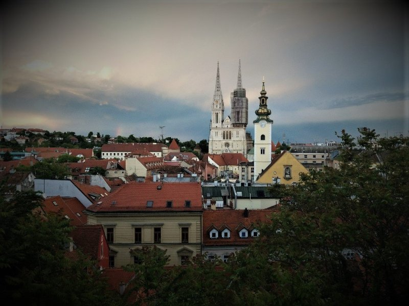 Skyline view of Zagreb with rooftops and church spires
