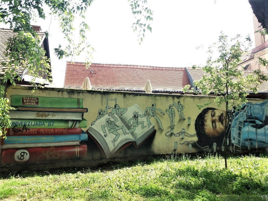 Gulliver pinned down by liliputians - Graffiti in Zagreb