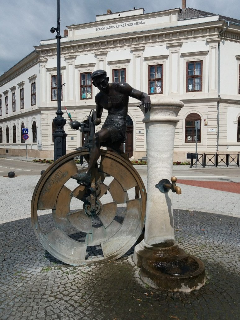 Sister cities statue on Erszébet tér Nagykanizsa Hungary