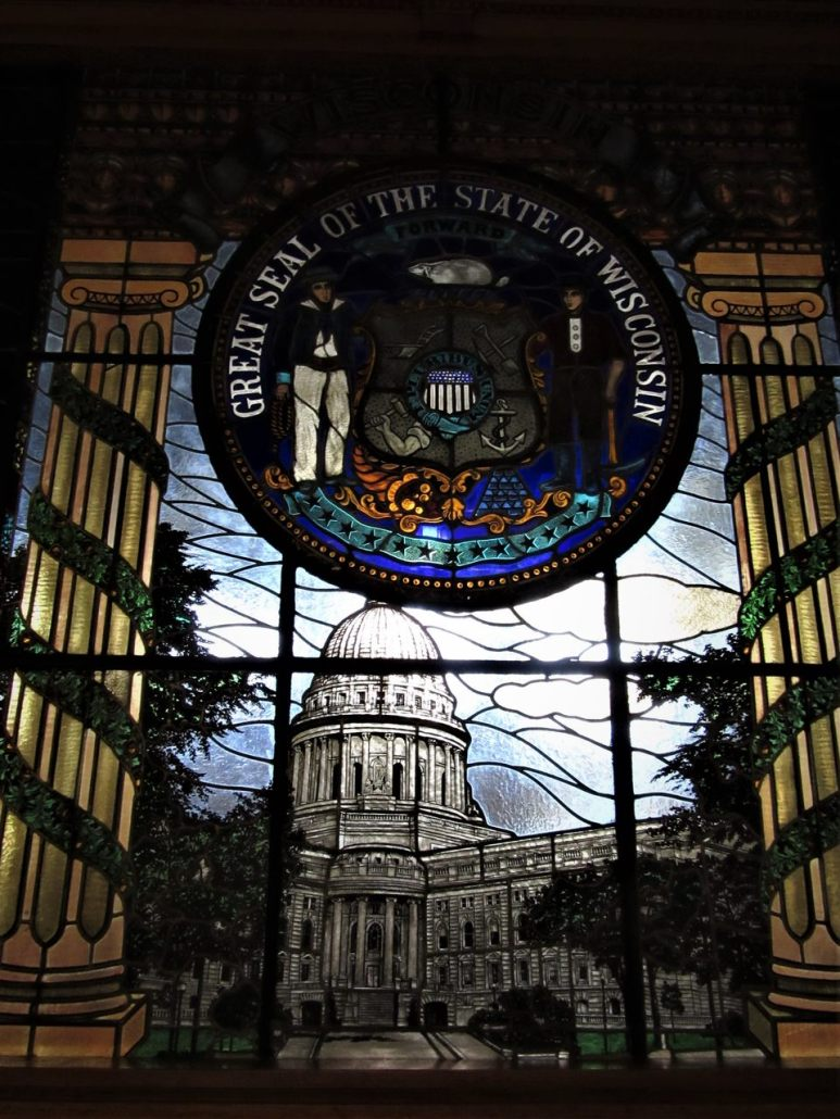 Stained glass window with City Seal Interior City Hall, Milwaukee, WI