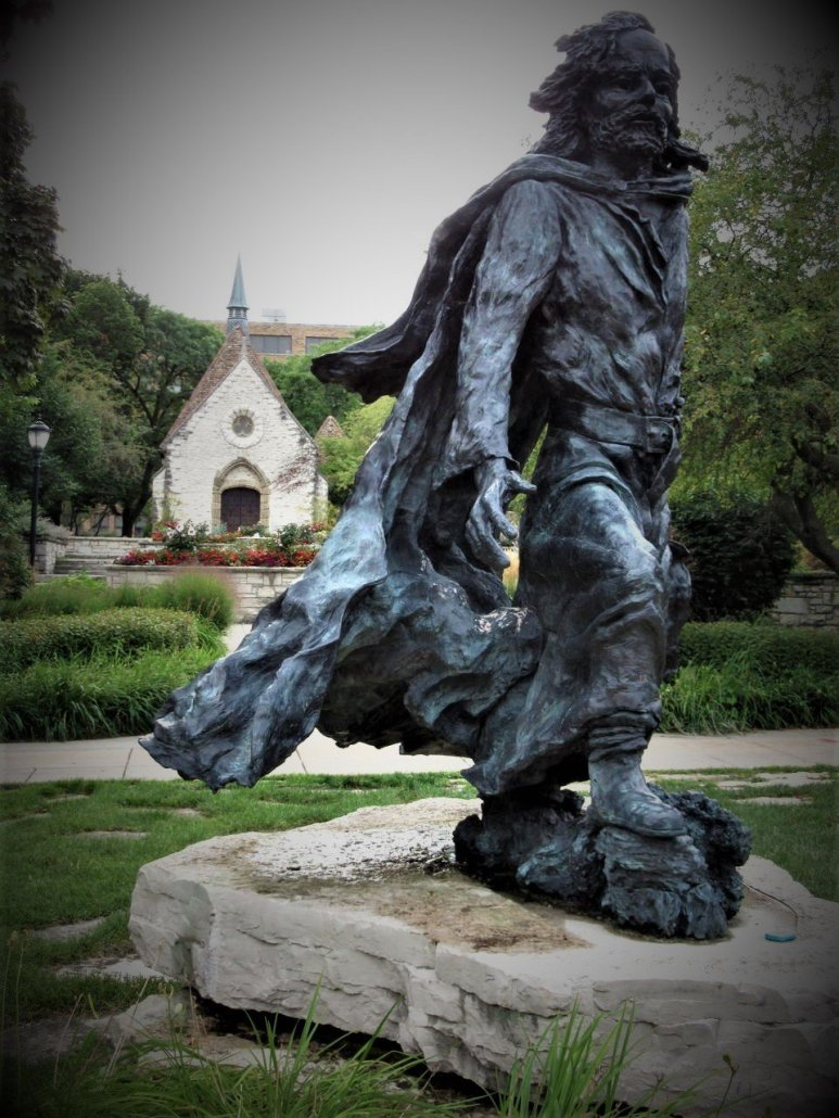 Statue of Pere Jacques Marquette on the university campus in Milwaukee