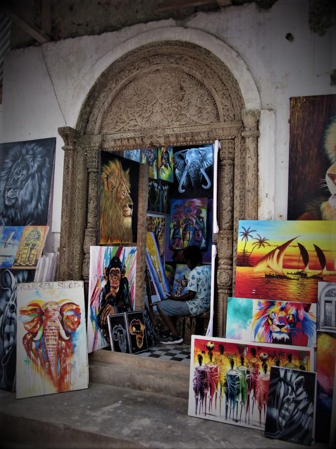 Artist at work in Stone Town Zanzibar