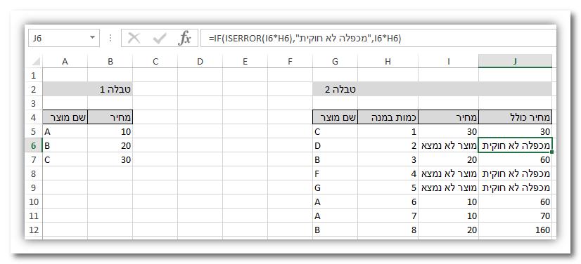 אקסל: מציאת ערך תואם בין טבלאות VLOOKUP