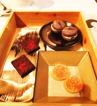 Hinoki Chocolate Box with a Selection of Home-Made Chocolates and Macaroons