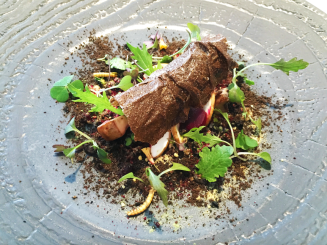4a) Damping Through The Boroughgroves…: Mushroom Beet And Blackberry, Scented With Fig Leaf, Meadowsweet, Melilot, Oakmoss And Black Truffle We explored the woods with this dish.